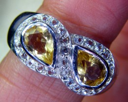 CITRINE SILVER RING  24 CTS  SIZE-8  RJU-48