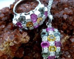 fre shipping MULTI CLUSTER GEMSTONE MULTI SILVER  PENDANT N RING RT 991