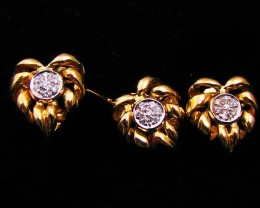 18K   GOLD  ,  BRILLIANT DIAMOND   RING  EARRING SET LGN 900
