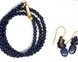 LAPIS BEAD NECKLACE EARRING  65.5  CTS  LG-75