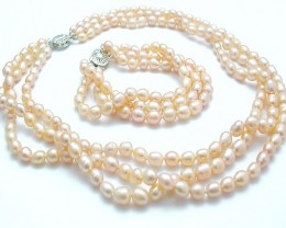 Genuine Thee Strand Pearl Necklace & Bracelet Set