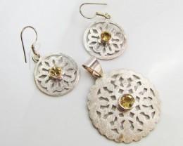 48 Cts  Citrine set in silver Pendant n Earrings    MJA 961