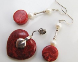 63 CTS Coral Sheppard   Earrings & pendant  MJA 1045