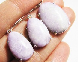 3 Piece Purple Jade set Sterling Silver  HS1371