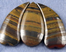 Natural Tiger Eye Necklace Focal Beads 3 pieces SP-23