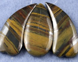 Natural Tiger Eye Necklace Focal Beads 3 pieces SP-24