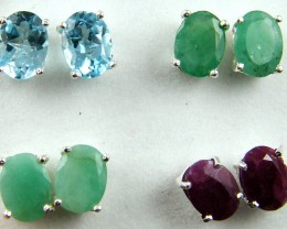 AMAZING TRADE DEAL 4  SETS GEMSTONE   SILVER EARRINGS  MYT 150