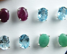 TRADE DEAL 4  SETS 8X6MM GEMSTONES   SILVER EARRINGS  MYT 15