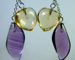 AMETHYST CITRINE EARRINGS -SILVER 22.7 CTS [GT707 ]
