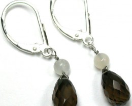 CLASSY SMOKEY QUARTZ SILVER EARRINGS  4.00 CTS      GTJA174