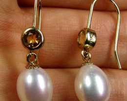 STYLISH 9K GOLD PEARL N CITRINE GEMSTONE EARRINGS  GTJA 290