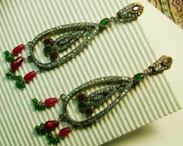 VINTAGE DESIGN RUBY-EMERALD ZIRCON EARRINGS 87CTS SG-282