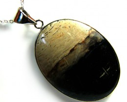 PALM ROOT  FOSSIL SET IN  PENDANT  65 CARATS  AAA1908