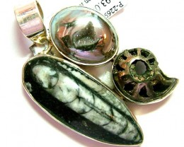 FOSSIL JEWELRY /SILVER PENDANT 109   CTS TBG-79