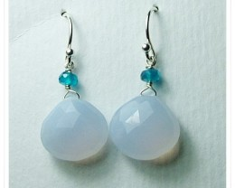 Quality Brazil Blue Chalcedony .925 Silver Earrings JW23