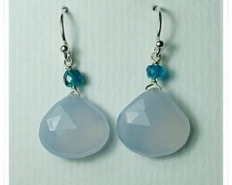 Quality Brazil Blue Chalcedony .925 Silver Earrings JW27