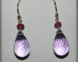 Quality Pink Amethyst .925 Silver Earrings JW7