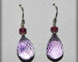 Quality Pink Amethyst .925 Silver Earrings JW4