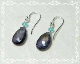 Quality African Iolite .925 Silver Earrings JW17
