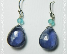 Quality African Iolite .925 Silver Earrings JW25