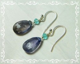 Quality African Iolite .925 Silver Earrings JW20