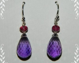 Quality Amethyst/Rhodolite Garnet.925 Silver Earrings JW3