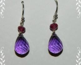 Quality Amethyst/Rhodolite Garnet.925 Silver Earrings JW1