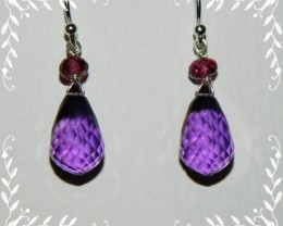 Quality Amethyst/Rhodolite Garnet.925 Silver Earrings JW2