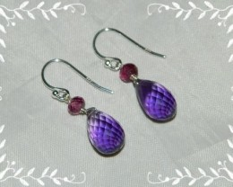 Quality Amethyst/Rhodolite Garnet.925 Silver Earrings JW5