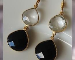 Quartz Crystal & Black Onyx Fancy Facetted Drop Earrings
