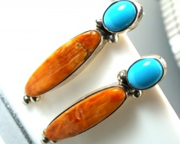 CORAL TORQUOISE  EARRING  28.5 CTS TBJ-9
