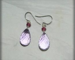 Quality Pink Amethyst .925 Silver Earrings JW8