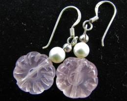 24 Cts  Rose Quartz in Silver  eARRINGS     MJA 621