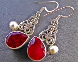 45 Cts Ruby  n Pearl set in Silver Earrings  MJA 646