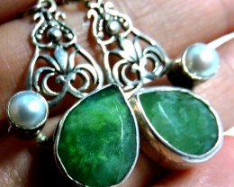 44 TCW MOZAMBIQUE  LARGE EMERALD SILVER EARRING JGG 149