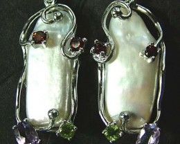 PEARL EARRINGS-SILVER- WITH 8 NATURAL STONES 44CTS [ GT1390]