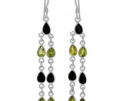 NEW-GENUINE PERIDOT AND SAPPHIRE EARRINGS