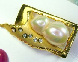 50.85 cts PEARL GOLD DIAMOND DESIGNED ONE OFF PENDANT 50.85  CTS