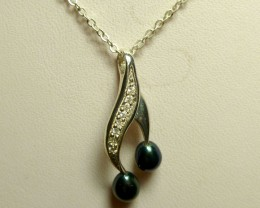 NATURAL PEARL SILVER PENDANT   RT 1187