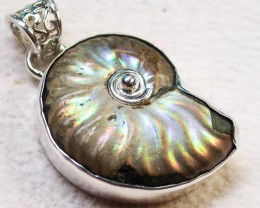 42.00CTS IRREDESENT AMMONITE PENDANT-FACTORY DIRECT [SJ1779]
