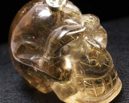 98.31 CTS QUARTZ RUTILATED SKULL WITH BAIL  [SJ2409]