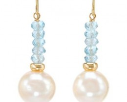 NEW-EARRINGS OF GENUINE FRESHWATER PEARLS AND TOPAZES