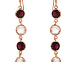 NEW FISH HOOK GARNET AND QUARTZ DANGLE EARRINGS