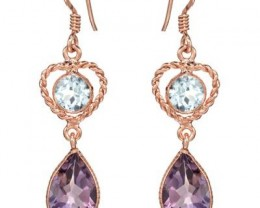 NEW GENUINE TOPAZ AND AMETHYST EARRINGS