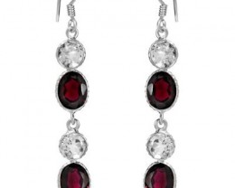 NEW - 13.25 TCW OF GENUINE GARNET AND WHITE TOPAZ SET IN 925 STERLING SILVE