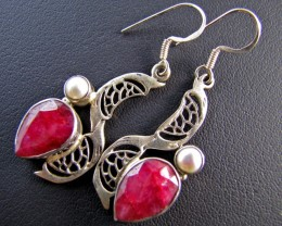 41 Cts Ruby n Pearl set in Silver Earrings  MJA 645