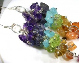 MIXED GEMSTONE EARRINGS 48  CTS  ADJ-153