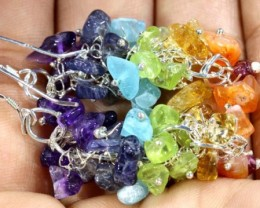 MIXED GEMSTONE EARRINGS  50.10 CTS  ADJ-158