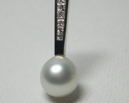 Australian South Sea Pearl and Diamond 18k White Gold Pendant