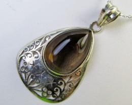 Large Smokey quartz silver pendant MJA 368